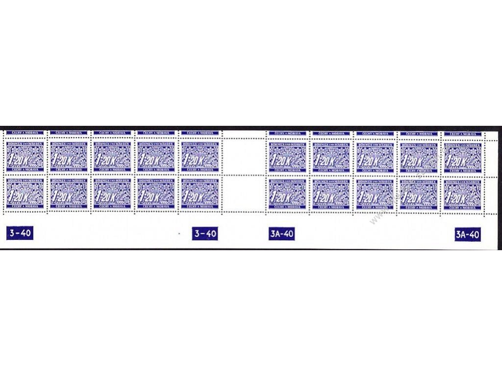 1.20K modrá, spodní 20pás s DČ 3-40-3A-40, variant