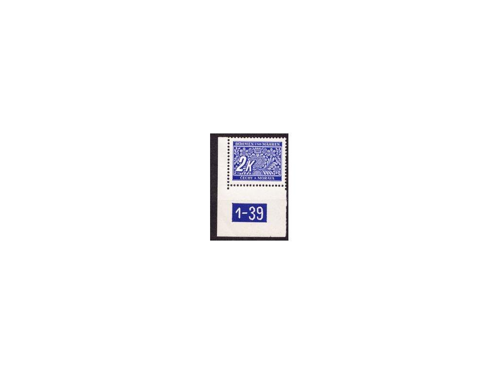 2K modrá, roh. kus s DČ1-39, varianta Y, Nr.DL11, **