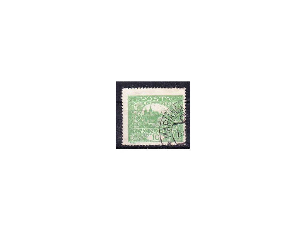 10h zelená, Řz.13 3/4, rámečkový typ, Nr.6C, razítkovaná, dv