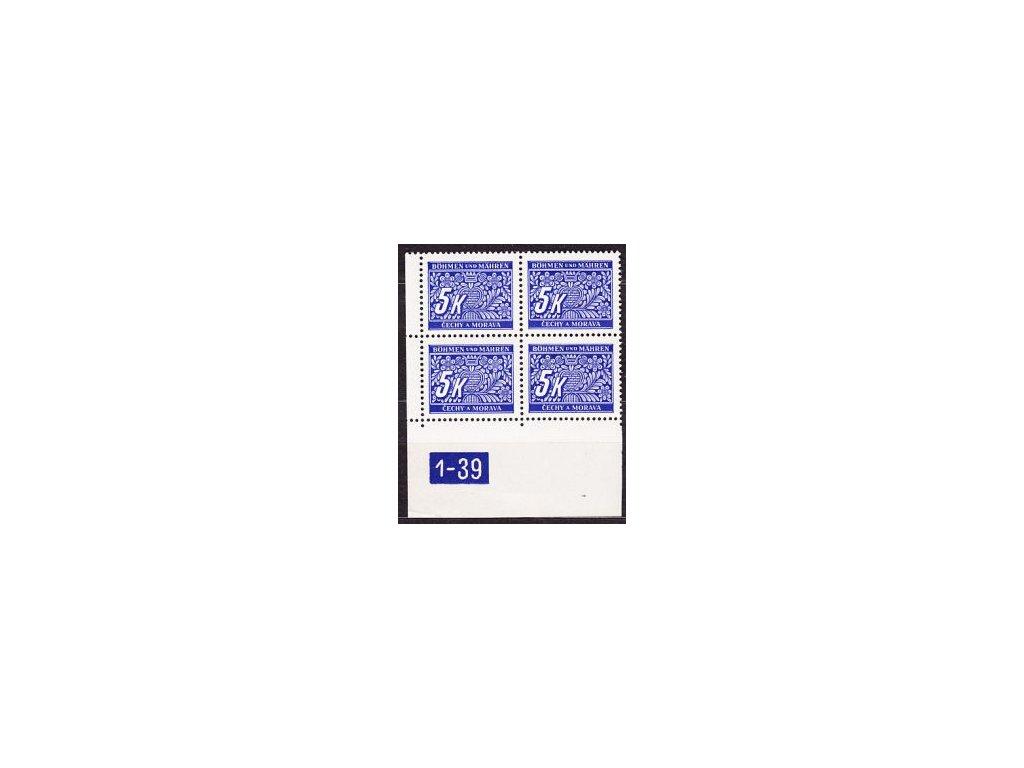 5K modrá, levý roh. 4blok s DČ1-39, X, Nr.DL12, **
