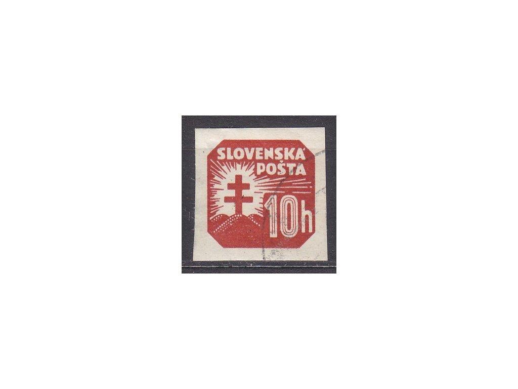 1939, 10h novinová, vodorovný rastr, Slov.Spec.Nr.NV14x, razítkovaná, část původního lepu