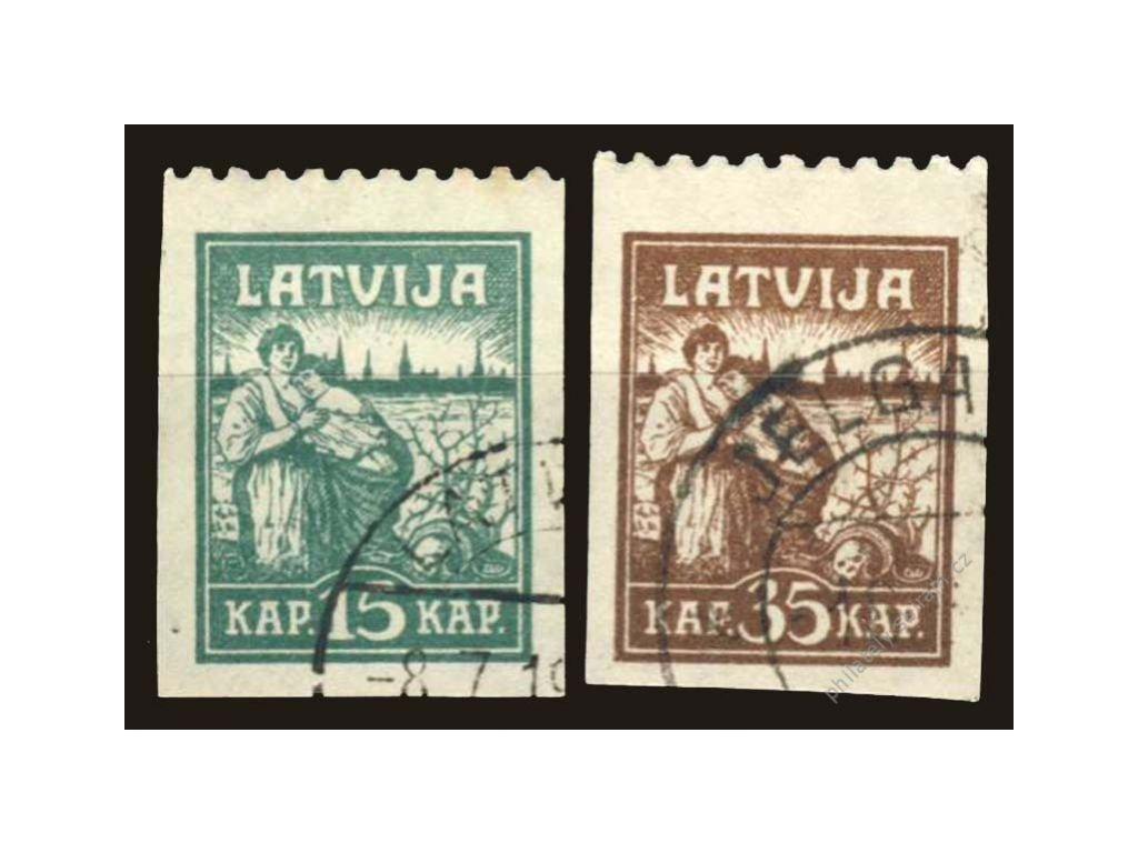 Latvija, 1919, 15 a 35S Riga, MiNr.26,27, razítko