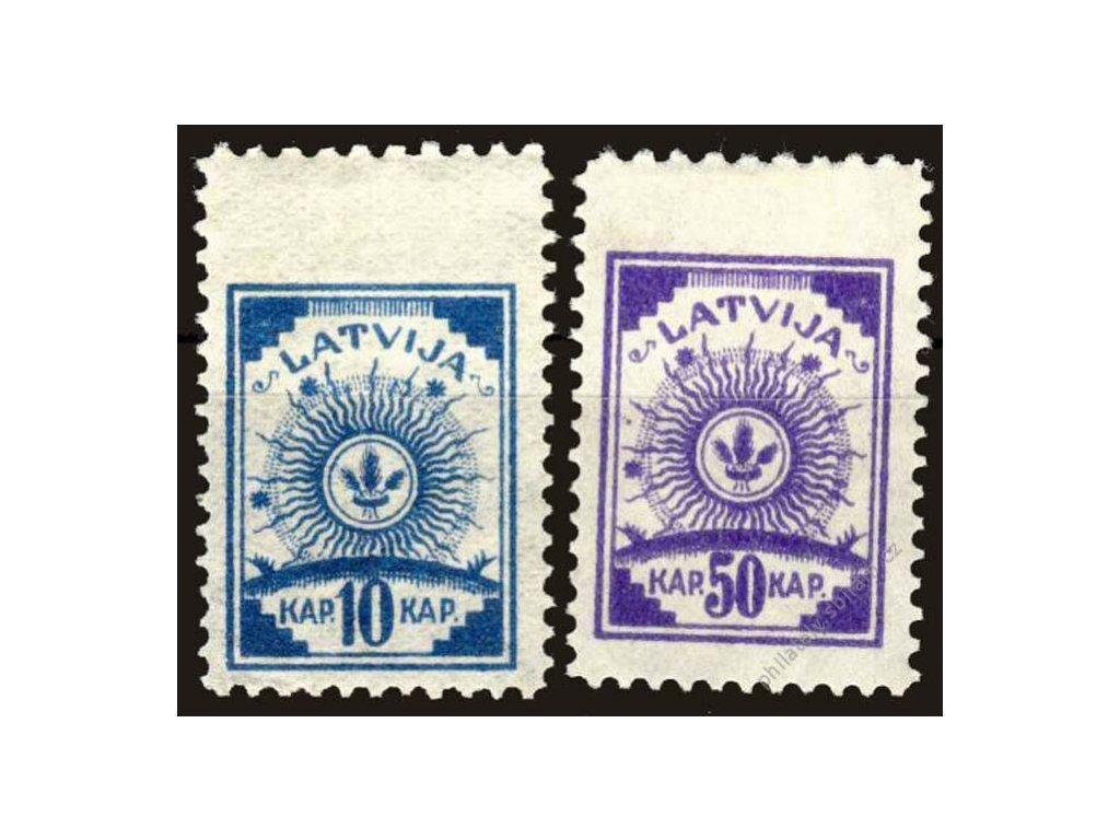 Latvija, 1919, 10 a 50Kap Znak, * po nálepce