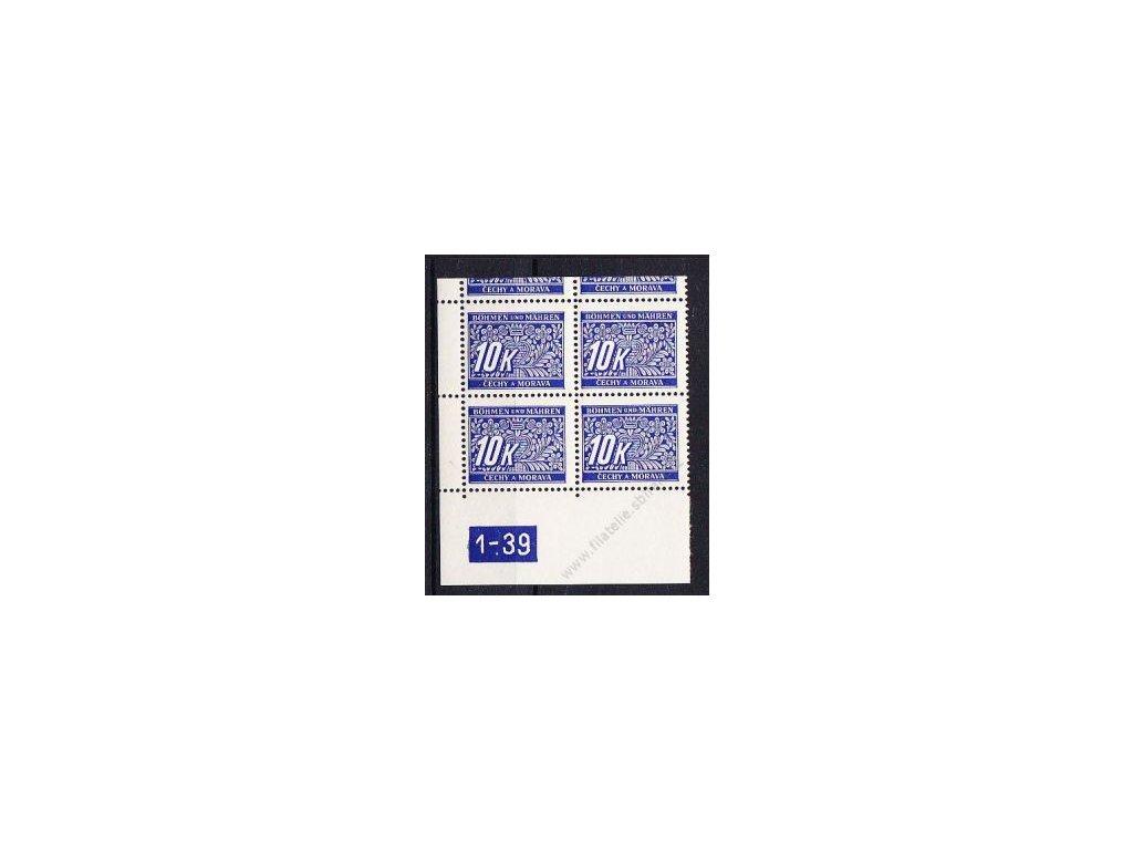 10K modrá, levý roh. 4blok s DČ 1-39, varianta X, horní okraj, Nr.DL13, **/*