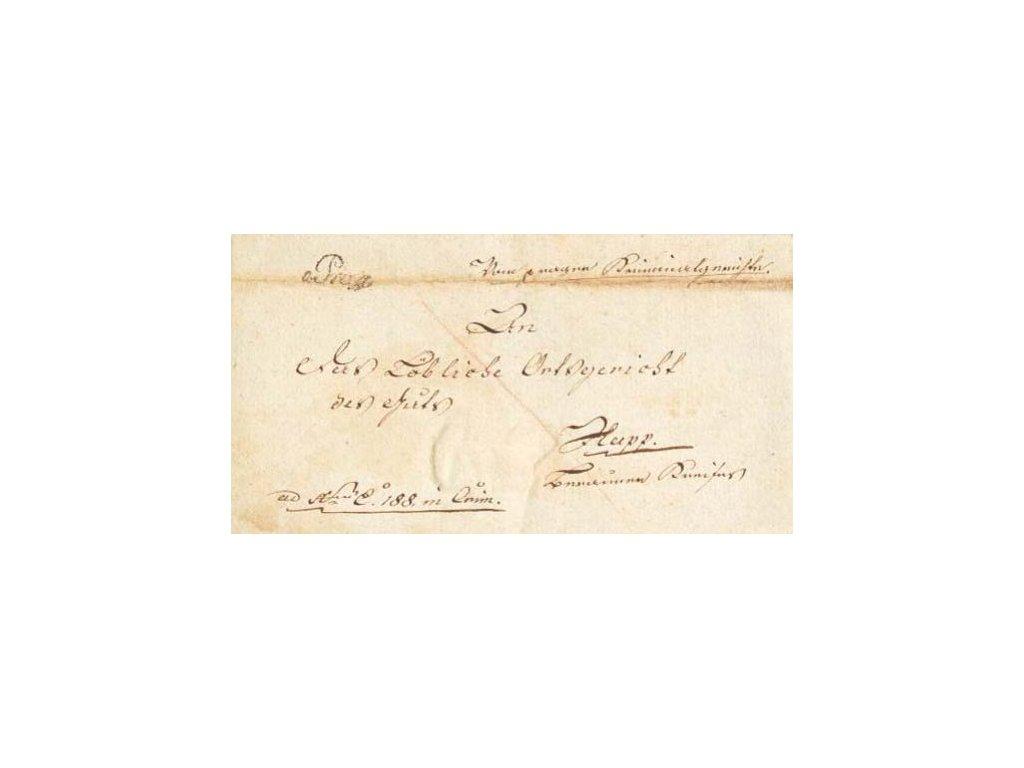 1820, v.Prag, skládaný dopis, stopy stáří