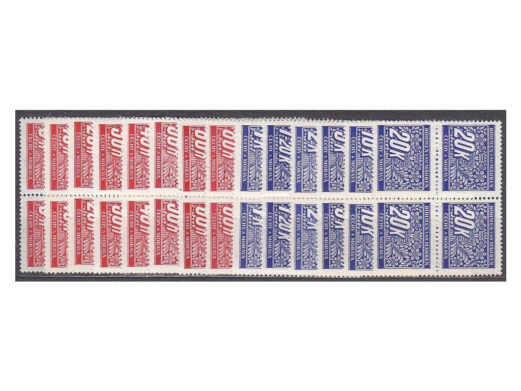 1939, 5h-20K Doplatní, série, 4bloky, Nr.DL1-14, **
