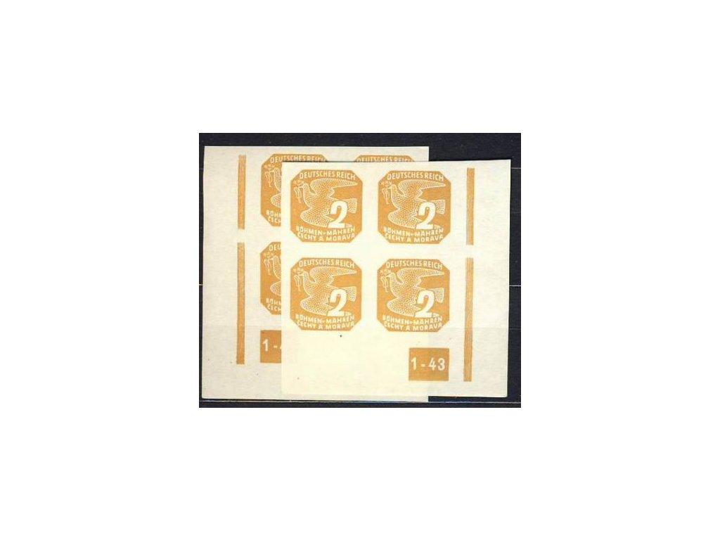 1943, 2h žlutohnědá, roh.4blok s DČ1-43, L+P, přerušený rám, Nr.NV10, **