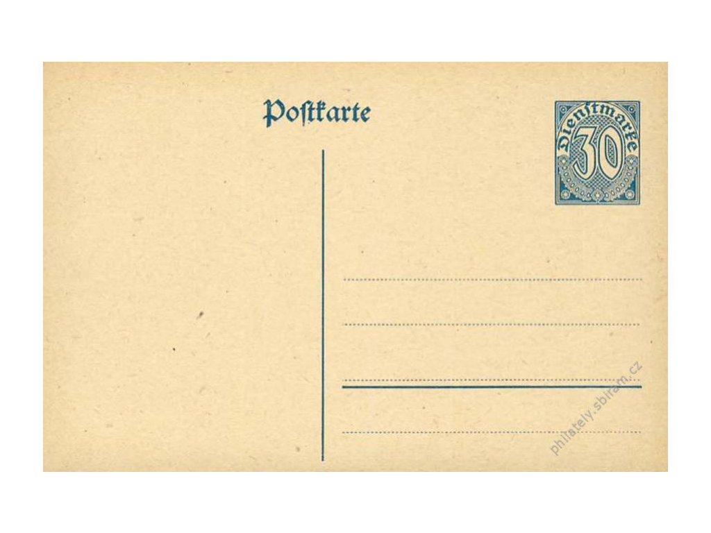 1921, dopisnice 30Pf MiNr.DP I., neprošlé