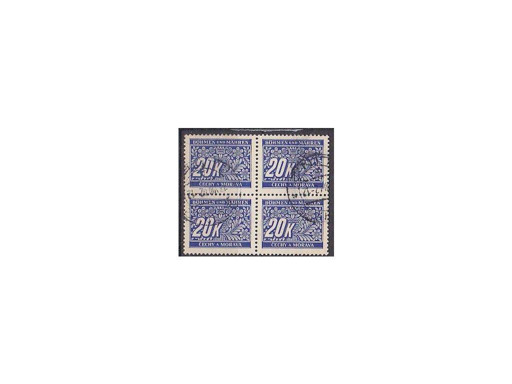 20K modrá, 4blok, Nr.DL14, razítkované