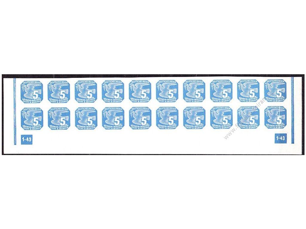 5h modrá, 20pás s DČ 1-43 - rám nepřerušen, Nr.NV11, **