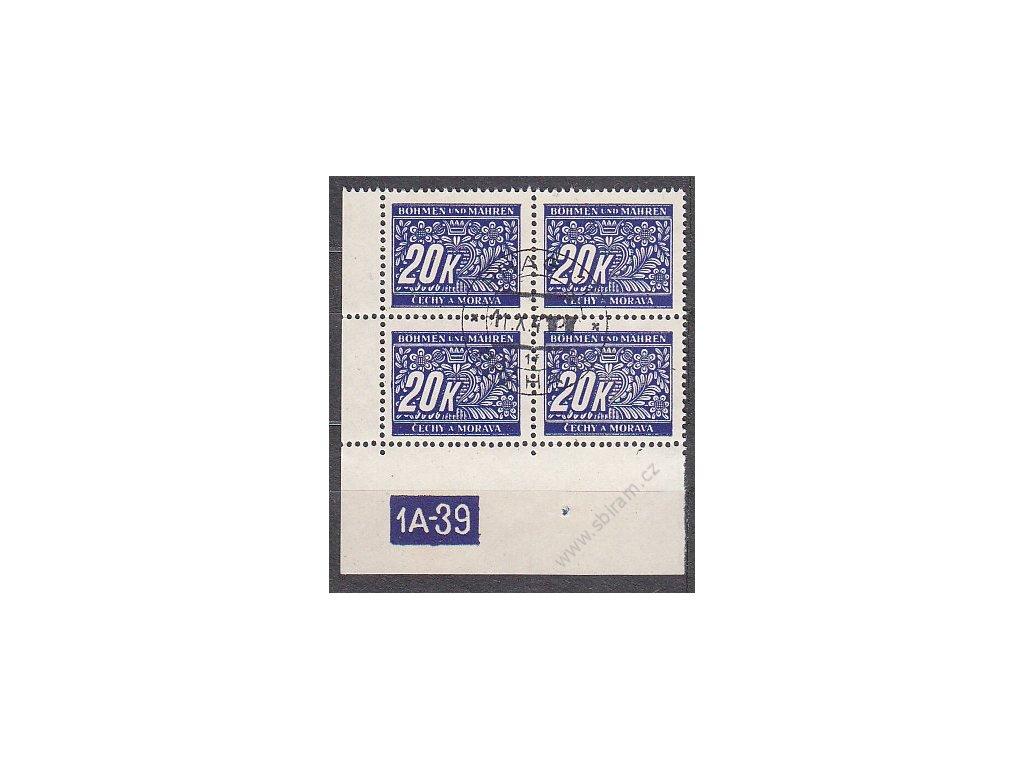 20K modrá, levý roh. 4blok s DČ 1A-39, varianta X, Nr.DL14, razítkované