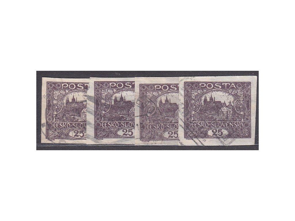 25h hnědo a černofialová, 4 ks, všechny příčkový typ, Nr.11a,b, razítkované