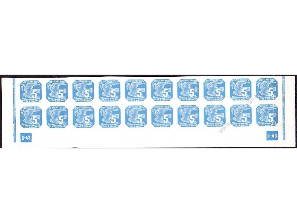 5h modrá, 20pás s DČ 2-43 - rám nepřerušen, Nr.NV11, **