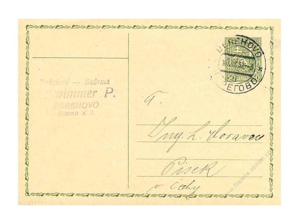 Berehovo, 1932, dopisnice, dv