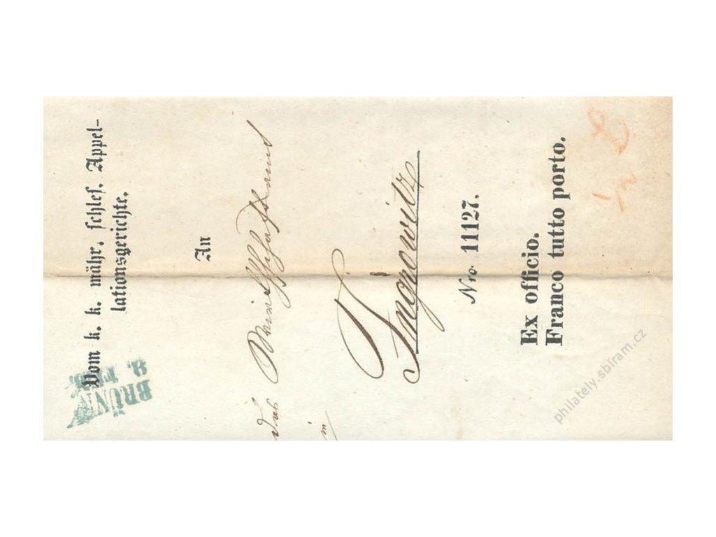 Brunn, modré razítko, skládaný dopis z roku 1847, stopy pošt. provozu