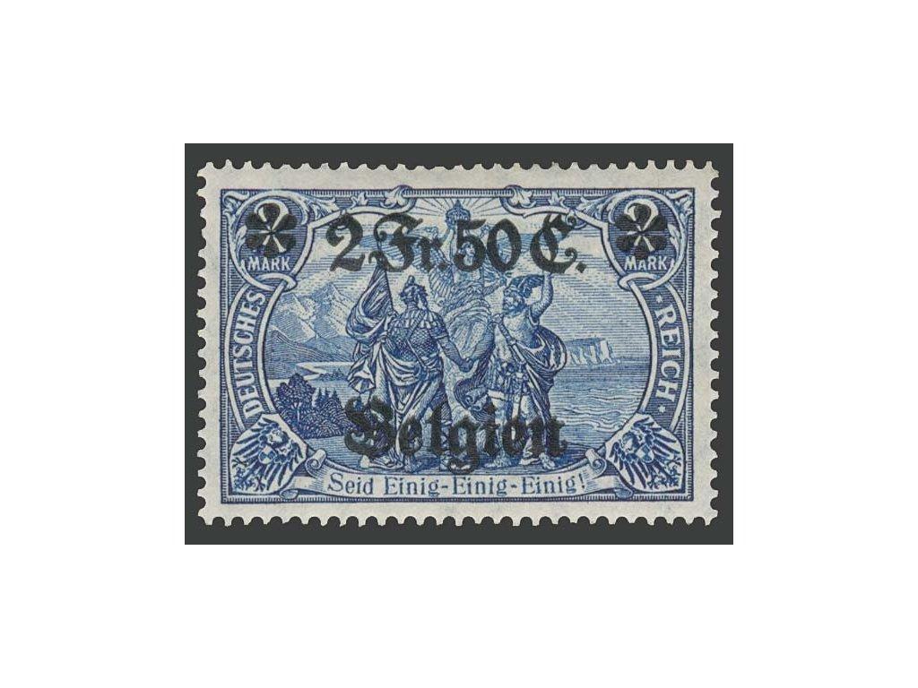 Belgien, 1914, 2F50C/2M modrá, MiNr.9, těžší *