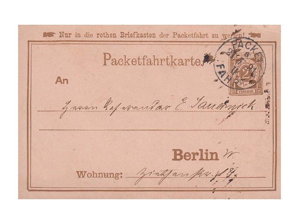 Berlin, 1891, dopisnice 2Pf zaslaná v místě, stopy provozu, hledané