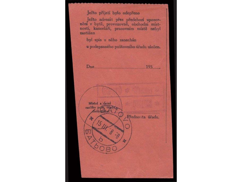 Baťovo, 1938, razítko + poštovna, útržek poštovního formuláře