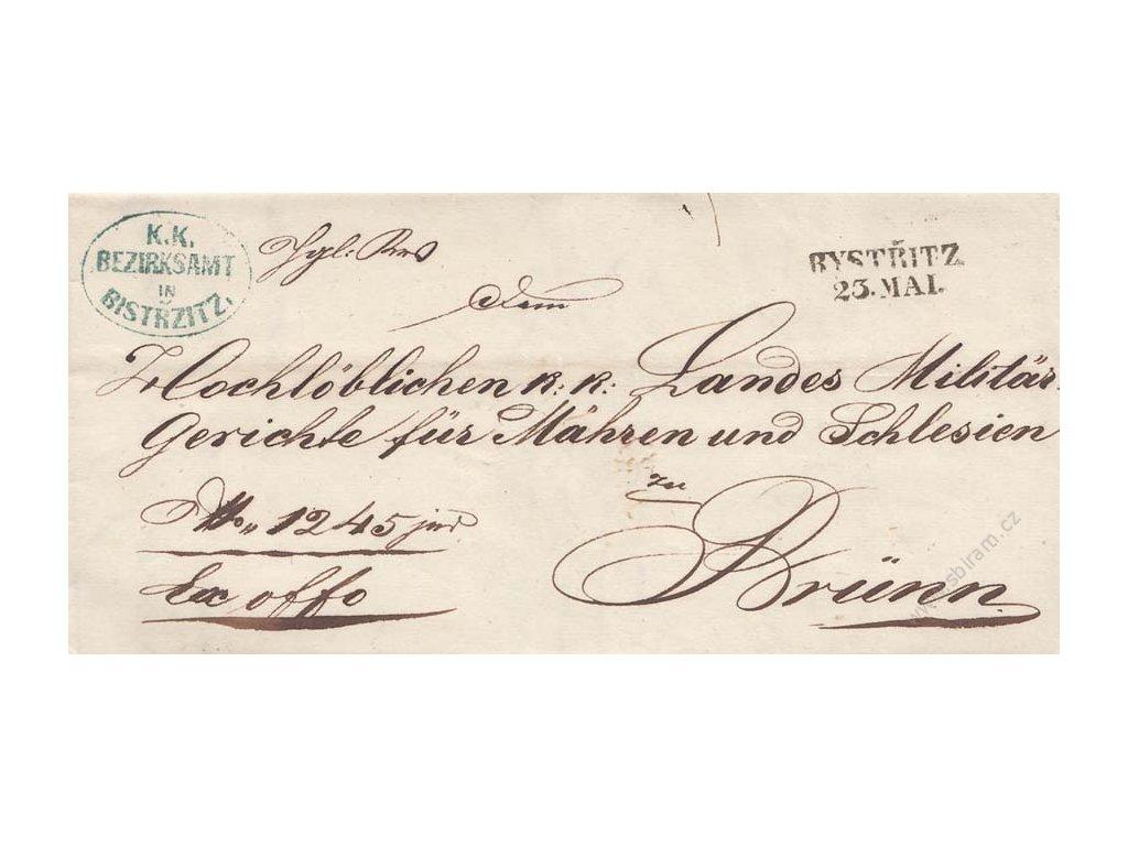 Bystřic, skládaný dopis z roku 1857