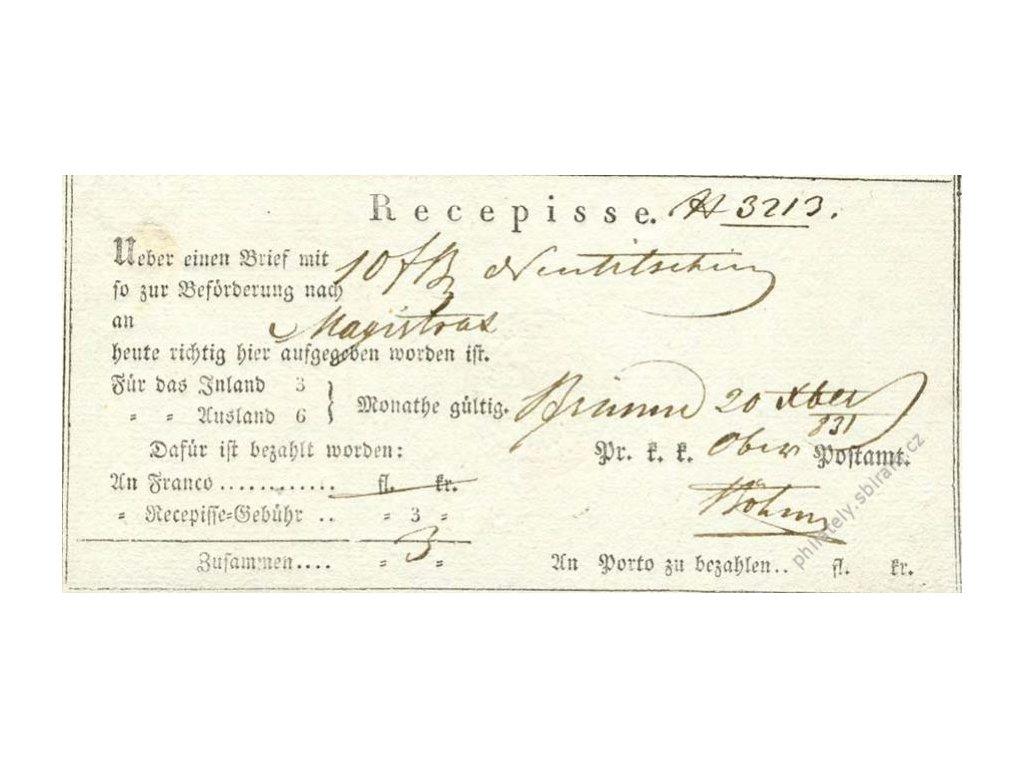 Recepis z roku 1831, lehké přehyby, slušný stav