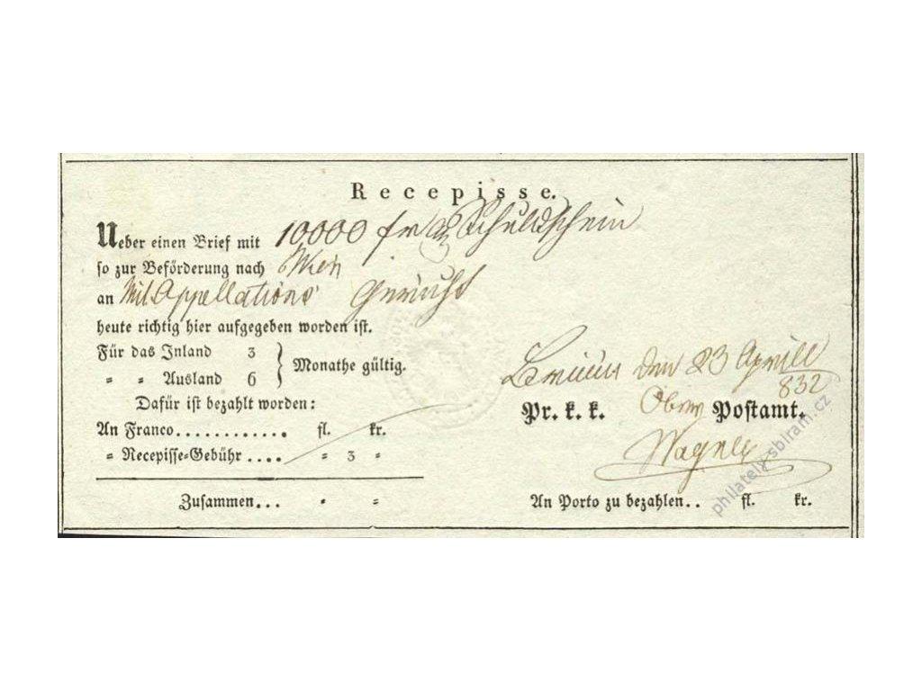 Recepis z roku 1832, lehké přehyby
