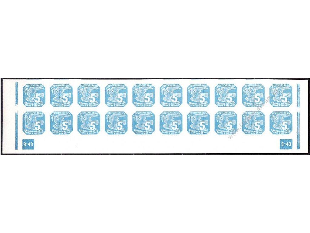 5h modrá, 20pás s DČ 3-43 - rám přerušen, Nr.NV11,