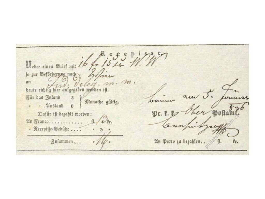 Recepis z roku 1836, lehké přehyby, slušný stav
