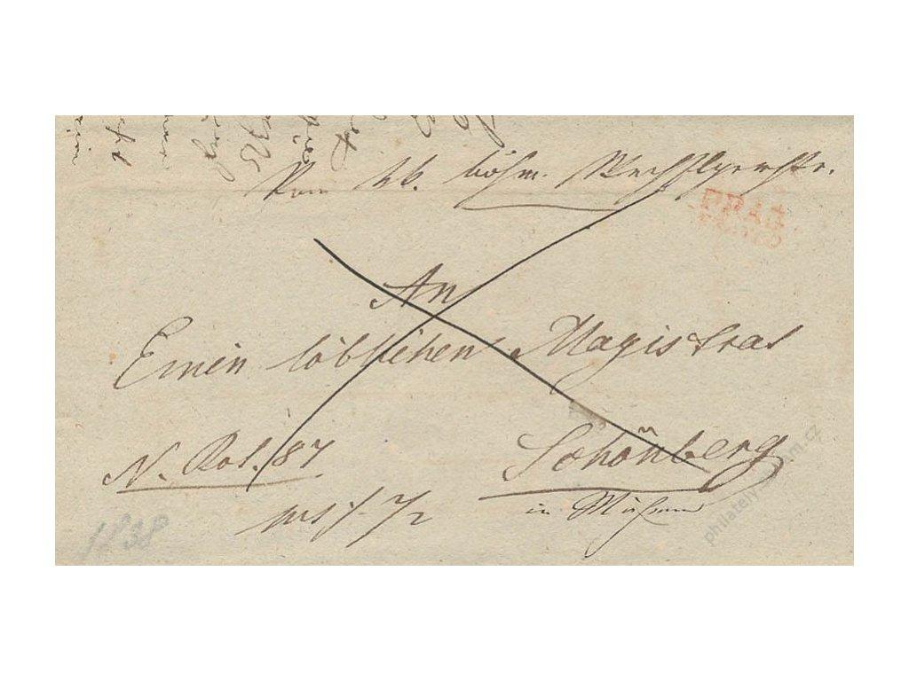 1838, PRAG, červené razítko, skládaný dopis