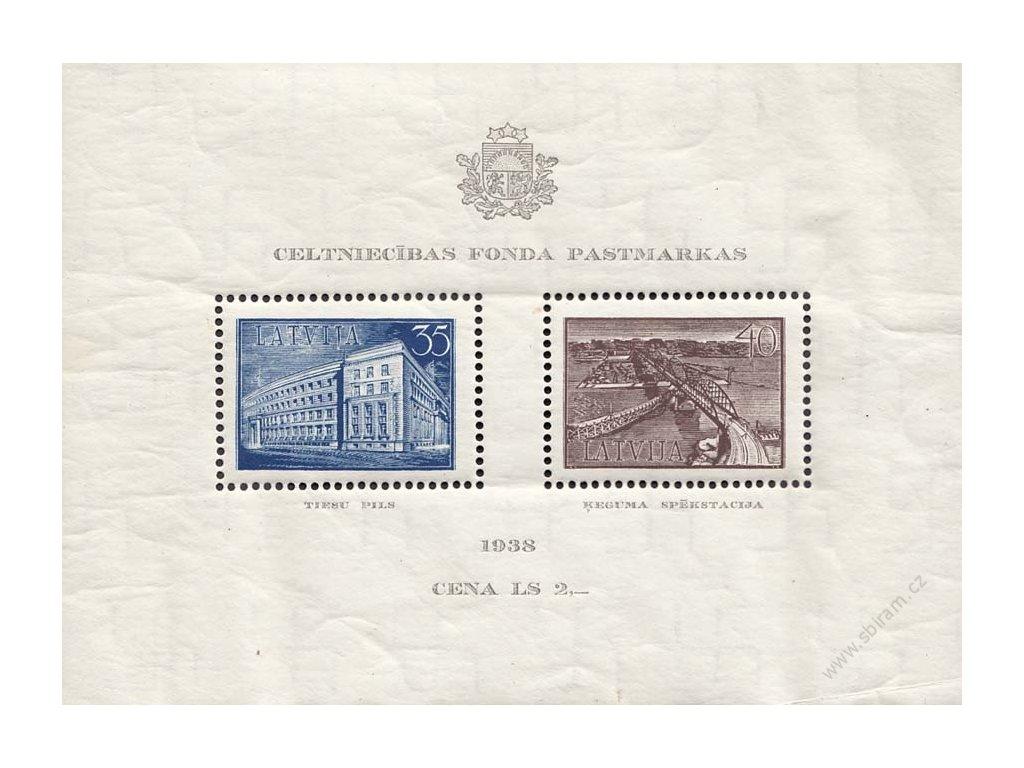 Latvija, 1939, 35-40S aršík, ** , zvlněný, vlomy
