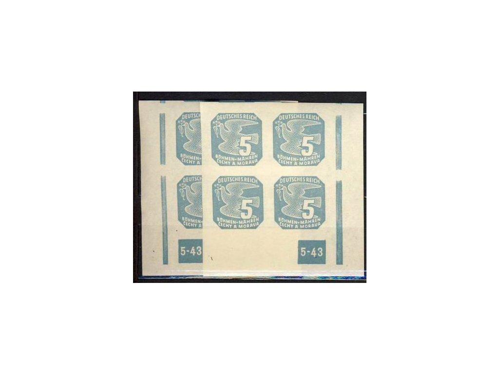 1943, 5h modrá, 4blok s DČ 5-43, L+P, rám přerušen, **