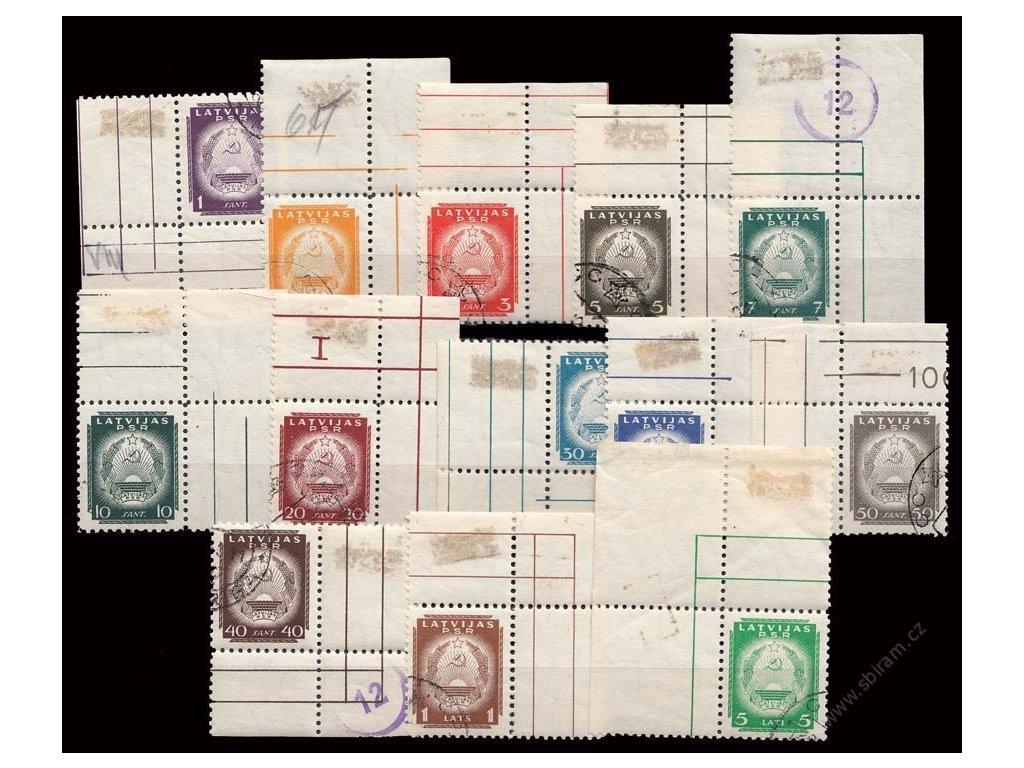 Latvija, 1940, 1S-5L série Znak, MiNr.292-304, razítkované