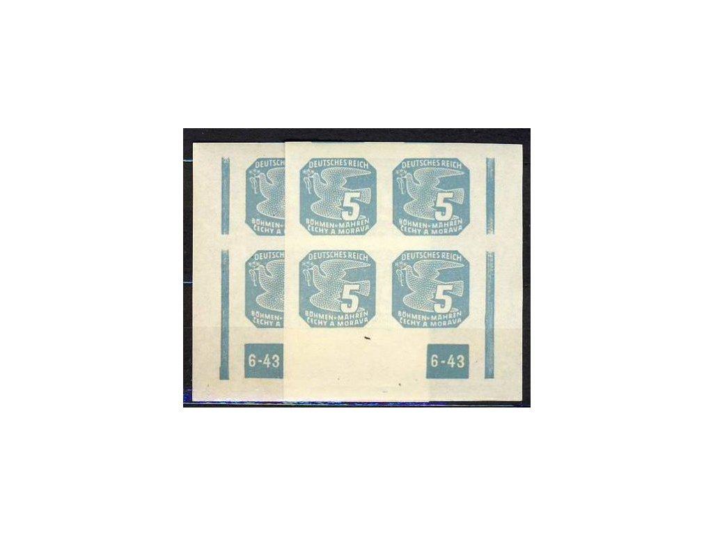 1943, 5h modrá, 4blok s DČ 6-43, přerušený rám, L+P, **