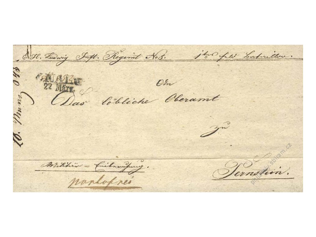 1845, Znaim, skládaný vojenský dopis