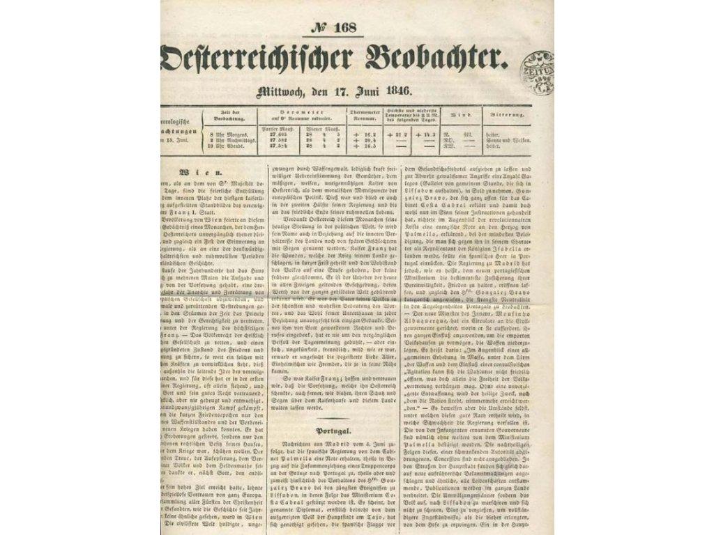 1846, Zeitung 1K 1846, list novin No.168, A4