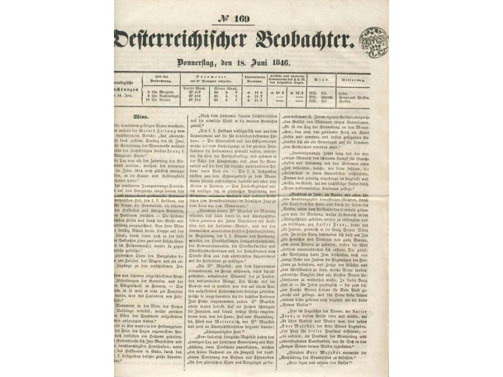 1846, Zeitung 1K 1846, list novin No.169, A4