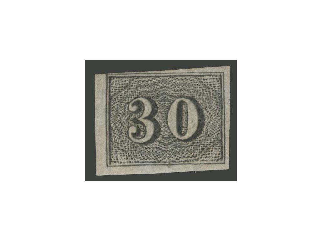 Brasílie, 1849, 30R černá, MiNr.13, * po nálepce