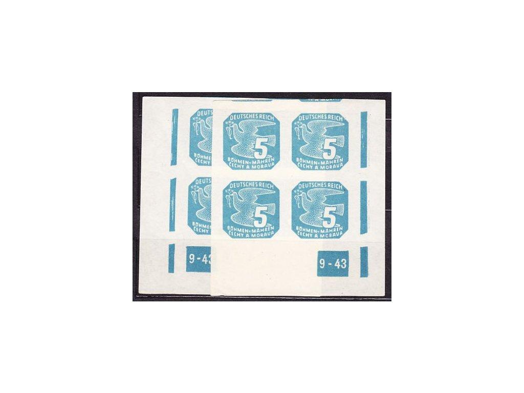1943, 5h modrá, 2 roh. 4bloky s DČ 9-43, L+P, Nr.NV11, **