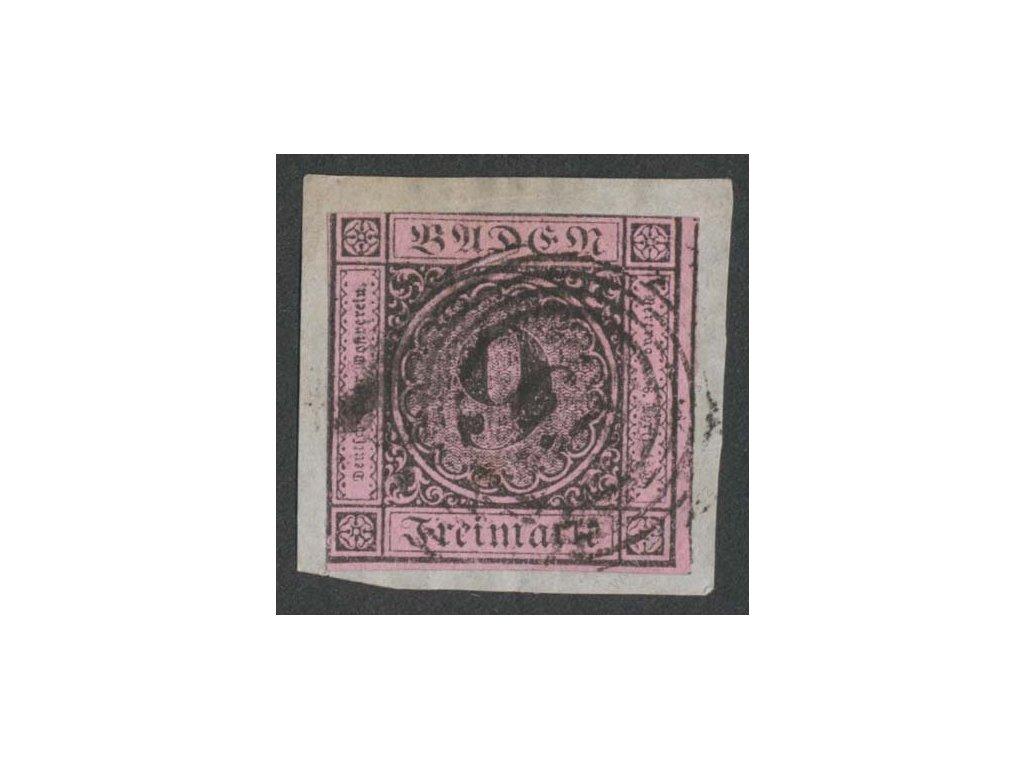 Baden, 1851, 9Kr černá/růžová, výstřižek, MiNr.4