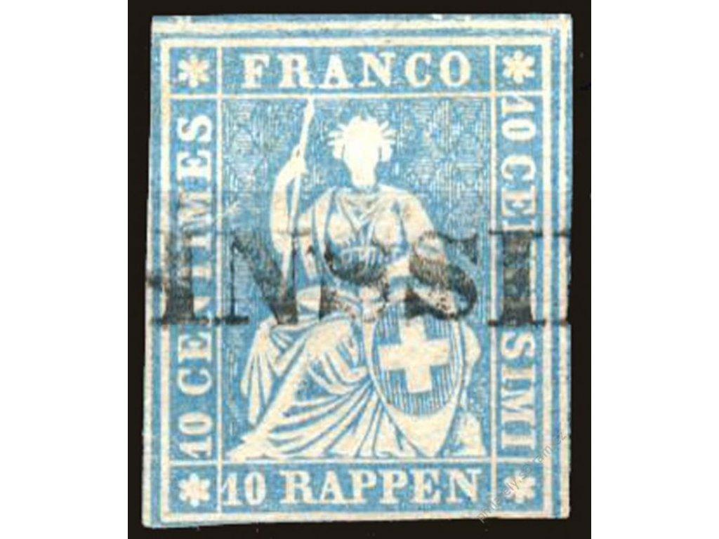 1854, 10Rp Helvetia, MiNr.14, razítkované