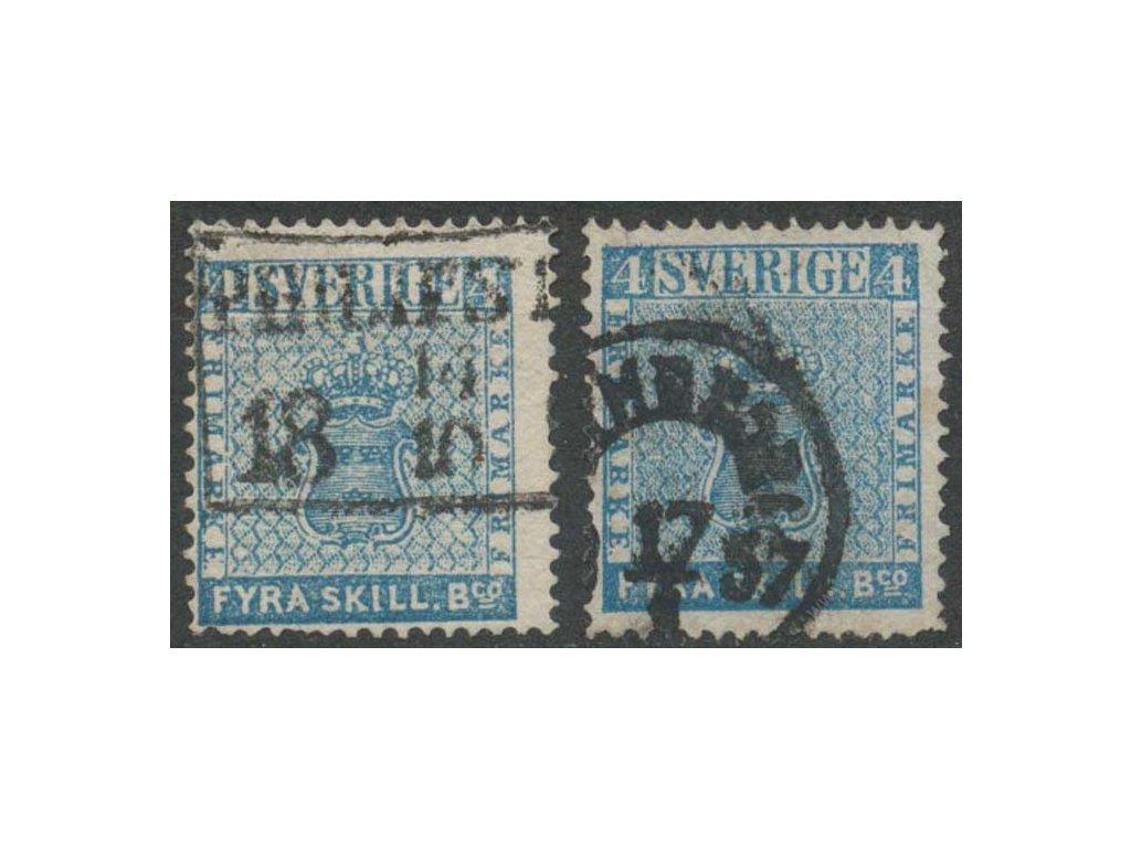 1855, 4Skill Znak, 2 kusy - odstíny, razítkované