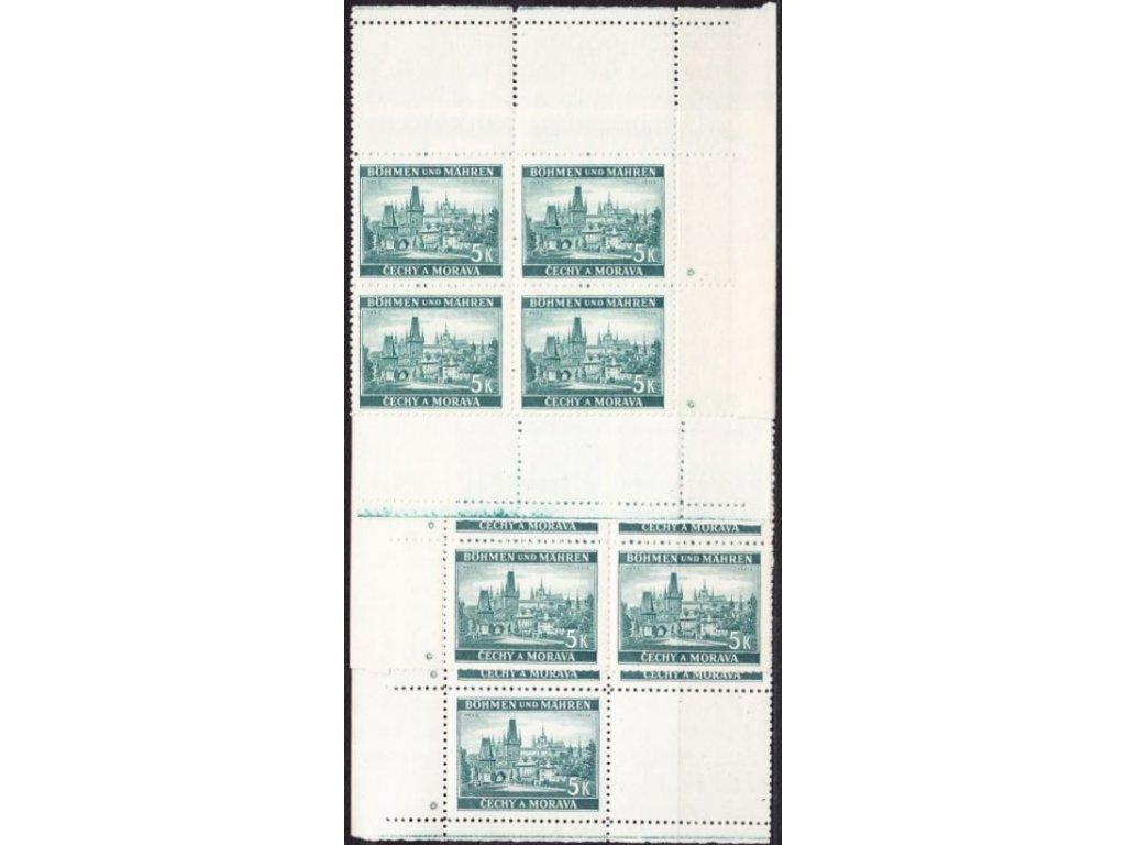 A-1939, 5K Praha, rohová miniatura v 6bloku, varianta hvězdičky, Nr.38, **