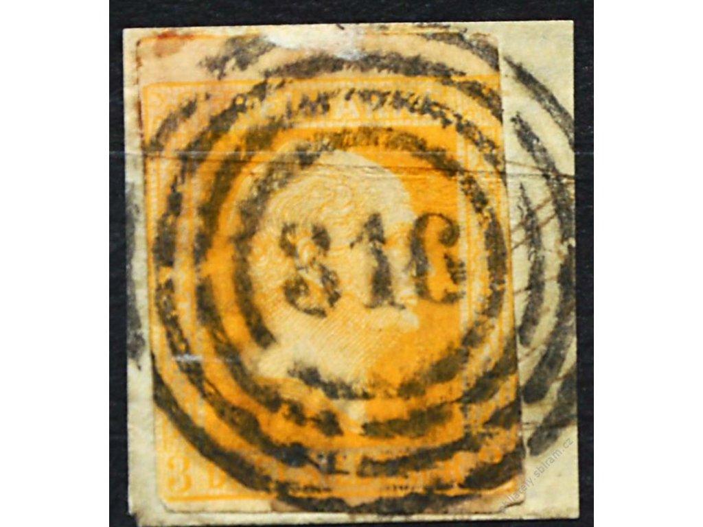 Prusko, 1857, 3Sgr Vilém, výstřižek, razítkované