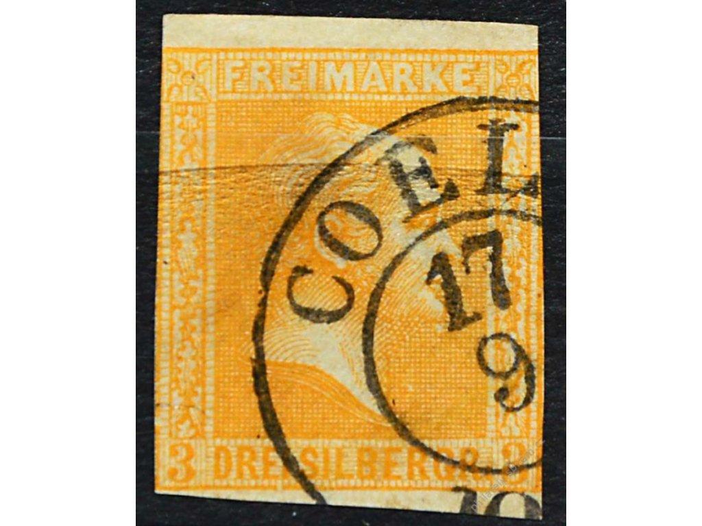 Prusko, 1857, 3Sgr Vilém, běžné střihy, razítko