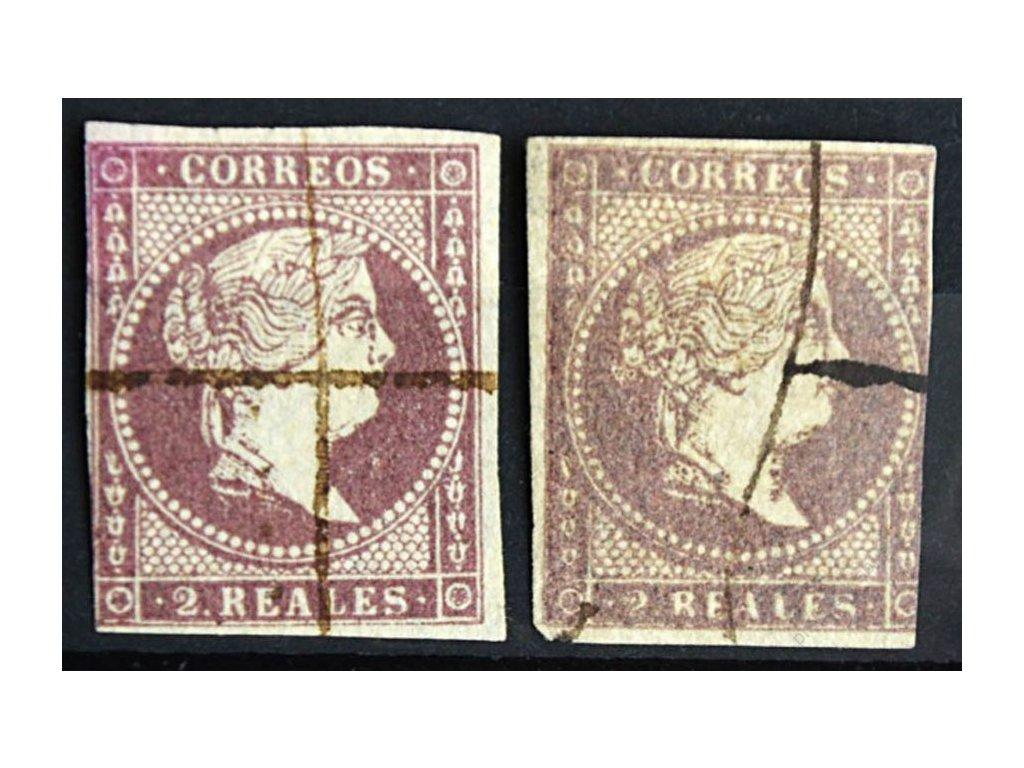1858, 2R Isabella, 2 ks - různé odstíny, razítkované
