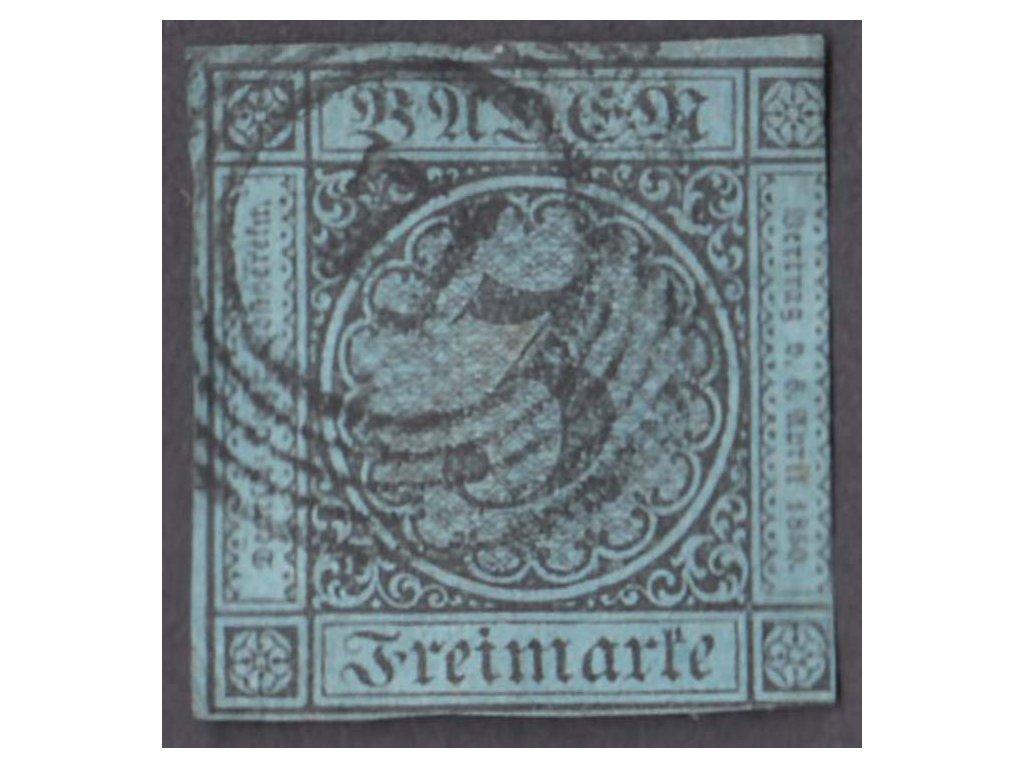 Baden, 1858, 3Kr černá/modrá, MiNr.8, razítkované