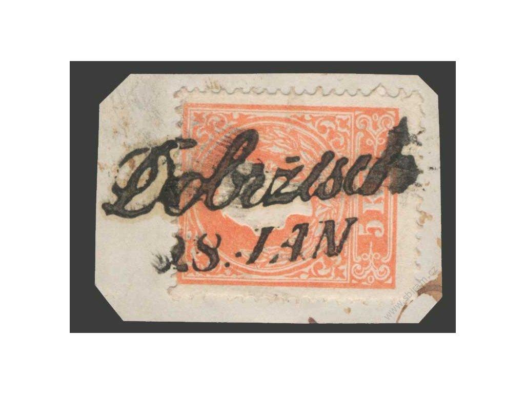 1858, 5Kr Franc Josef, typ II., výstřižek, DR Dobržisch