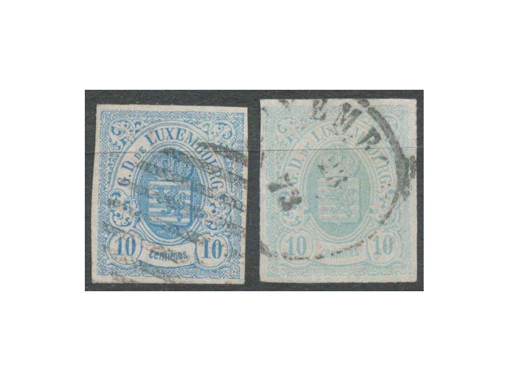 1859, 10C Znak, 2 ks - odstíny, razítko, lehce zeslabeno