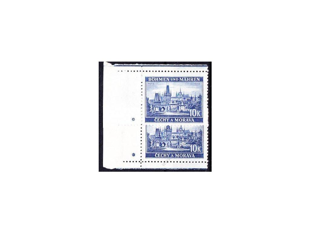 10K Praha, levý dolní a horní roh. kus, varianta křížek, Nr.39, **