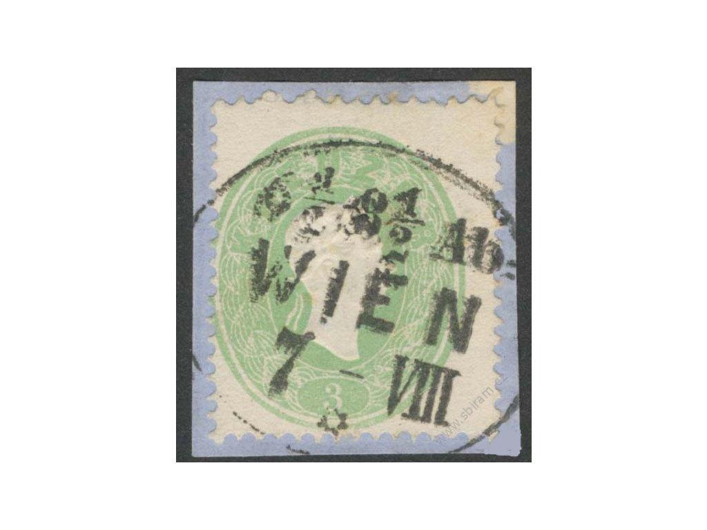 1860, 3Kr Franc Josef, výstřižek, skvrnka mimo známku