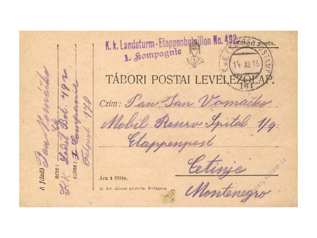 No.161, lístek PP, zasláno v roce 1915 do Cetinje